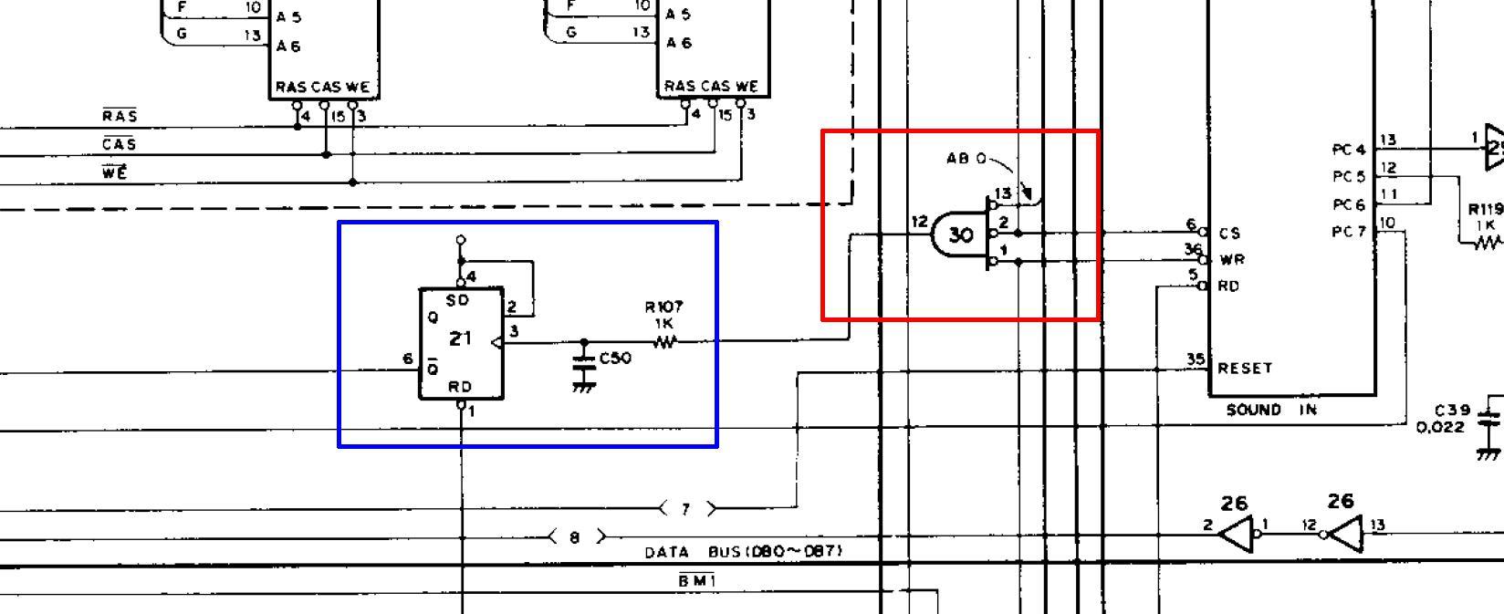 Parte dello schema con IC30 e IC21