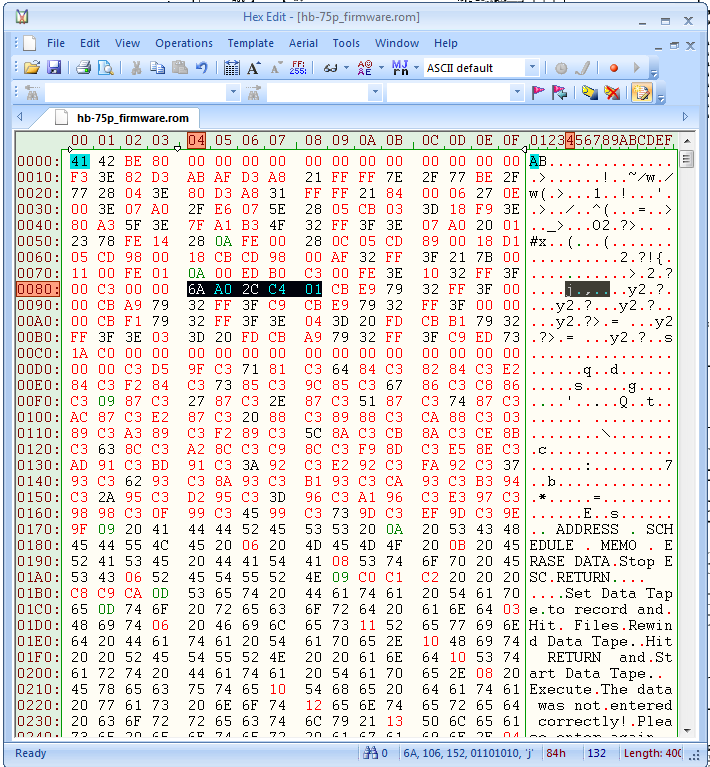 Firmware Sony Hit Bit 75P con i dati inviati al PLL in evidenza