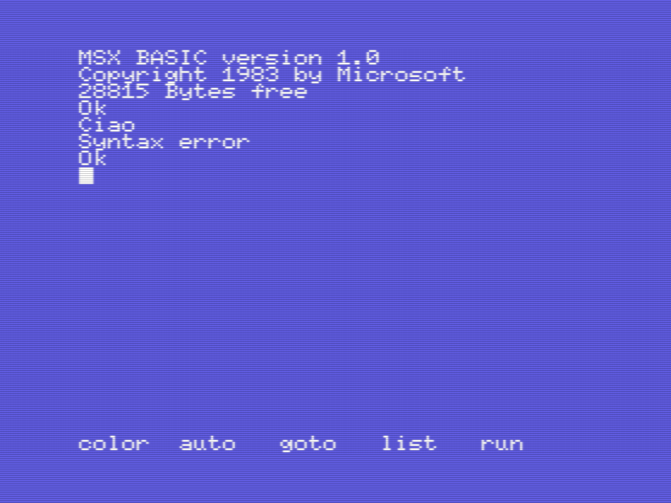 Syntax Error, MSX BASIC